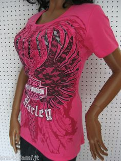 Harley Davidson Slashed Hot Pink T Shirt Top