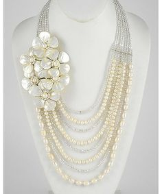 279506 Handmade Cream Fresh Water Pearl & Ab Glass Crystal / Multi Row Flower Necklace