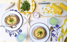 Sweetcorn-and-seafood chowder in garlic-butter bread bowls - Country Life