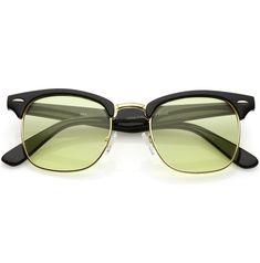 5f1e1b0f33f Modern Horn Rimmed Sunglasses Semi Rimless Color Tinted Square Lens 49mm