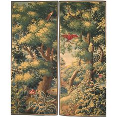 Pair of Antwerp Verdure Tapestry Panels  This one with a cardinal bird. Circa 1690.