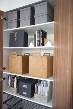 Today I'm sharing the long overdue makeover of our everything cabinet, which is a home office storage cabinet of sorts. If you are looking for some home organiz Home Office Closet, Home Office Storage, Home Office Design, Home Office Decor, Office Organization At Work, Home Office Organization, Organize Office Supplies, Office Cupboards, The Home Edit