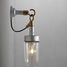 BuyDavey Lighting 7679 Well Glass Wall Light, Galvanised Online at johnlewis.com