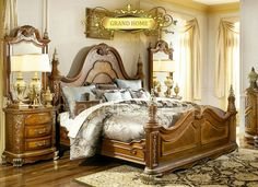 Fairfax Home Furnishings Verona King Poster Bed in Warm Cherry Victorian Bed, Bedroom Posters, California King Bedding, Tuscan Decorating, Decorating Ideas, Panel Bed, Suites, King Beds, Bedroom Sets