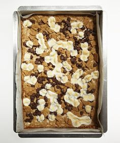 S'mores Blondies: Transform the campfire classic into a portable dessert in this chewy, chocolatey, marshmallow-filled bar. Keep the blondies at room temperature, between sheets of wax paper in airtight containers, for up to 5 days.