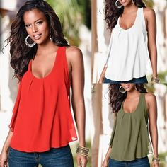 Women  Sexy Loose Patchwork Tank Tops