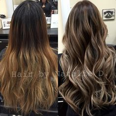 #ShareIG Before and after on my awesome client!! I had to lighten her base color first then I went back and painted on highlights to bring the blonde higher up and break up her ombre! I then toned it with an ashy toner to cancel out some of her warmth. I used shwarzkopf 9-1 with shades 9b and 9n. I like to mix permanent color with my gloss so it lasts longer.. Ps I do a lot of ethnic hair so it lightens very warm (brassy) sometimes the redken shades gloss won't cut it! ✨ #balayage ...
