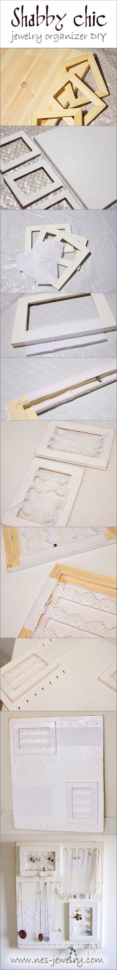 Shabby chic jewelry organizer DIY  Click for step by step instructions  http://nes-jewelry.com/shabby-chic-jewelry-organizer-diy/