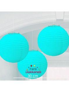 Açık Mavi Yuvarlak Fener Süs 1 adet (30 cm)