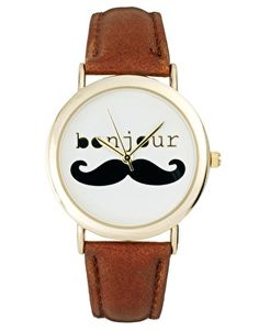 Oh my gosh @missalov3 we NEED these! It's PERFECT :D -- ASOS Bonjour Moustache Watch