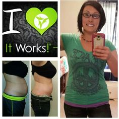 ItWorks! Before wrapping, after 3rd wrap and after 4th wrap! Taking fatfighter, thermofit, and greens daily! 7in lost, 8 lbs lost in 2 weeks! Try that crazy wrap thing already! karalcross.myitworks.com