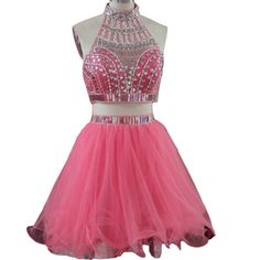 Lemai Crystals Beaded 2 Pieces Short Tulle A Line Backless Prom Homecoming Dresses Watermelon US20W. Sheer beaded hatler with crystals and shiny sequins, Sexy 2 pieces knee length A line skirt short, Open back designs with straps, See through, Tulle fabric. All dresses are made to order even if standard size. Please find a soft tape to measure yourself and keep tape loose, otherwise it will be too tight or large. We offer FREE custom made service, please message and contact us after order...