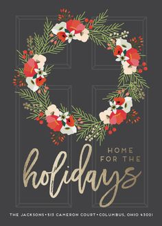 """""""Home for the Holidays"""" - Foil-pressed Holiday Cards in Slate by Christy Vespa."""