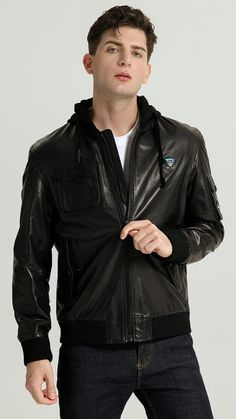 Leather Jeans Men, Leather Jacket With Hood, Leather Jackets, Black Leather, Cowboy Outfit For Men, Cowboy Outfits, Jeans En Cuir, Hooded Jacket, Bomber Jacket