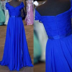 Outlet A-Line Floor Length Chiffon Sleeveless Royal Blue Long Prom Dresses with Sash (Outlet Prom Dress 61144)