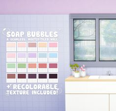 ♡ Soap Bubbles + a set of seamless, mostly-tiled walls • 20 swatches • custom thumbnails • all wall heights • wall type: tile • cost: §2 • colors: 8bitto cafe • recolorable texture included in all sizes, .dds format ♡ DOWNLOAD   SimFileShare ×...