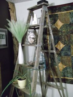 A ladder in the workshop turned into corner display. Repurposed Items, Ladders, Farmer, Ladder Decor, Workshop, Display, Home Decor, Floor Space, Homemade Home Decor