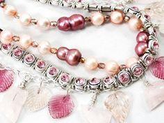 pink freshwater pearl and pink quartz necklace  by JMarieOfAtlanta, $90.00