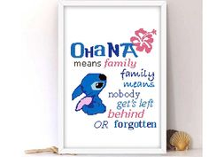 Ohana cross stitch pattern LILO and Stitch Disney nursery