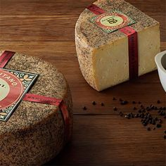 Black Pepper Bellavitano by Sartori The fruit of the black pepper vine, used since antiquity in European cuisine, is present here again to accent Sartori's finest creation - rich, nutty, creamy BellaVitano cheese. Dutch Recipes, Swedish Recipes, Gourmet Recipes, Gourmet Gift Baskets, Gourmet Gifts, Maytag Blue Cheese, Farmers Cheese, Smoked Cheese, European Cuisine