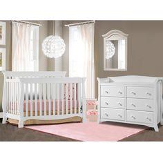 Storkcraft 2 Piece Nursery Set - Venetian Convertible Crib and Avalon 6 Drawer Dresser in White