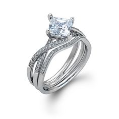 Fabled Collection - This gorgeous 18K white engagement ring and band is comprised of .23ctw round white Diamonds. - MR1395