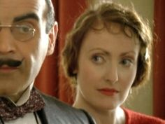 Poirot & Ms. Lemon (David Suchet & Pauline Moran) in 'Poirot'.
