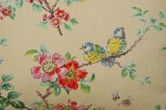 vintage French birdies and blossoms cushion