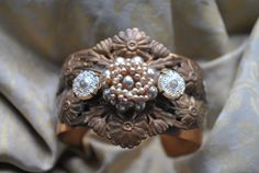 Antique style brass ivory and cream pearly vintage glass buttons and lace floral vintage cuff bracelet SALE by MoodsWingz on Etsy