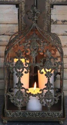 ゝ。Rustic Iron Candlelight Lantern