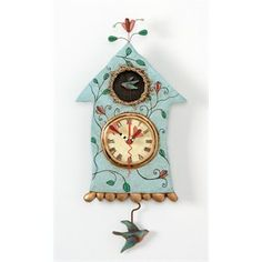 "With bird like a pendulum. Enesco-All designs ""Fly bird clock"" -the Bird House as a wall clock. Pendulum Wall Clock, Flyer, New Crafts, Bird Houses, Hand Painted, Things To Sell, Home Decor, Clocks, Craft Ideas"