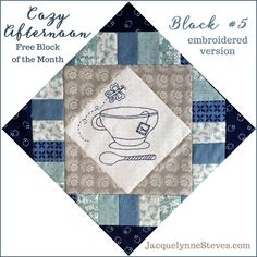 Block #5 for Cozy Afternoon Free BOM- this is the embroidered version. So pretty in blue! Pattern also has options for piecing only or applique. #quilt