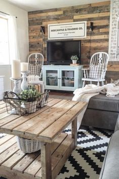 Farmhouse living room decor #rustic #homedecor #farmhousedecor #tvstand #cozy #sideboard #farmhousestyle #coffeetable #rug #livingroom #shiplap #rusticdecor #ad #ss