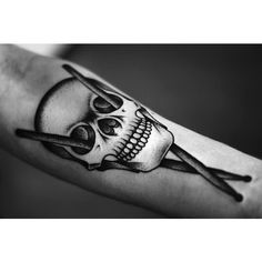 The (Skull) Drumstick Cross ❤ liked on Polyvore featuring tattoo