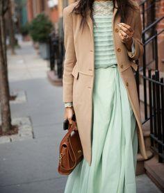 camel coat, pastel green maxi dress, spring attire