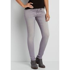 maurices Denimflex™ Jegging In Cloudy Lilac ($39) ❤ liked on Polyvore featuring pants, leggings, lilac pants, jean leggings, denim leggings, maurices and cotton leggings
