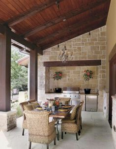 Really like the outdoor kitchen! Would screen it in...southern area...bugs!