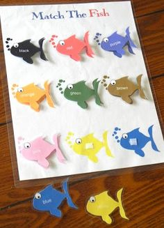 Sugar Bee Learning: Toddler Preschool Fish Color Matching Game Printable