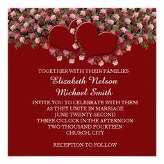 Red Hearts Romantic Roses Wedding Invite