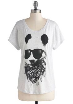 Hip to Be Bear Tee - Jersey, Knit, Mid-length, Grey, Black, Print with Animals, Casual, Short Sleeves, Quirky, Scoop, Urban