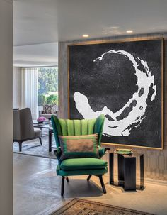 Extra Large Painting, Large Canvas Art. Mminimalist Art, Modern Art Abstract Painting Black and White Circle Earth - Celine Ziang Art.