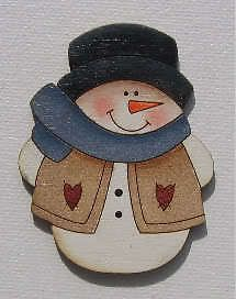 Pins-by-Joanie Primitive Frosty Snowman Christmas Wood