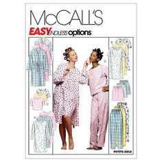 Sewing pattern for Nightgown, Robe or Top Pajamas http://www.bookdrawer.com/go/mccalls-sewing-pattern-nightgown-robes/