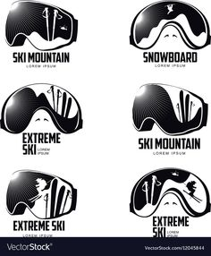 Black and white graphic mountain skier goggles Vector Image , Ski Glasses, Black And White Drawing, Black White, Vintage Cycles, Mountain Tattoo, Logo Design, Graphic Design, Clothing Logo, Logo Concept