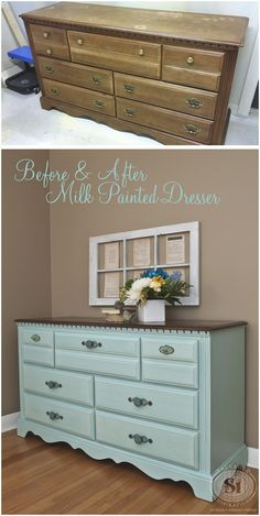 Miss Mustard Seeds Eulalie's Sky. I love this before and after dresser...okay - not the before lol! Beautiful color with java stained top! #paintedfurniturebeforeandafter #repurposedfurniturebeforeandafter