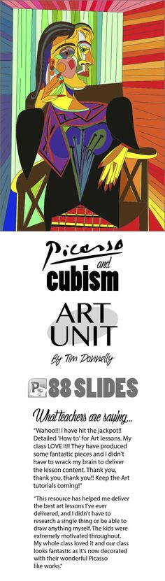 This powerpoint is an excellent art unit for upper primary and lower secondary classes. Students explore the cubism art movement and the artist Pablo Picasso. They then create a cubist piece of art with each step explained in intricate detail. Oil pastels is the best medium for this project. Extension ideas are also included in this powerpoint.