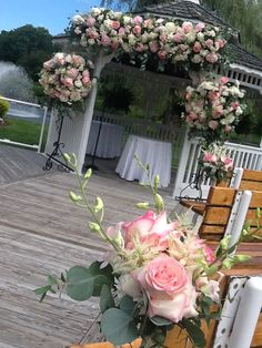 Gazebo flowers with candelabras. Bayview Florist Wedding Studio, Sayville NY.  www.liweddingbouquets.com