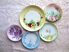 Vintage Mismatched China Plates.  Floral Plates, Wall Collage, Hand Painted Nippon Plates. Alice in Wonderland, Tea Party, Shabby Chic Decor