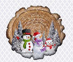 Handpainted Christmas Ornaments, Snowman Christmas Decorations, Painted Ornaments, Wood Snowman, Snowman Faces, Snowmen, Large Wood Slices, Creative, Wood Cookie
