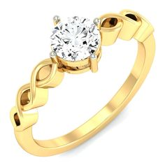 Infinity Sign Design With Four Prong Set Diamond Solitaire Ring